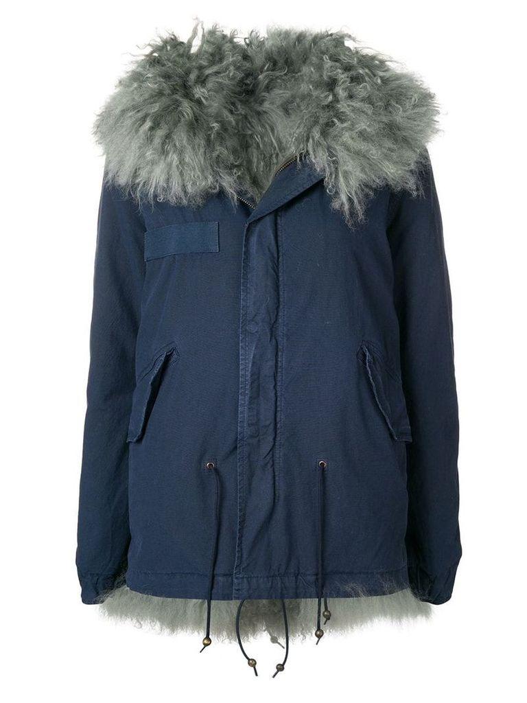 Mr & Mrs Italy trimmed hooded parka - Blue