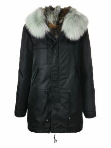 Mr & Mrs Italy trimmed hooded parka - Black
