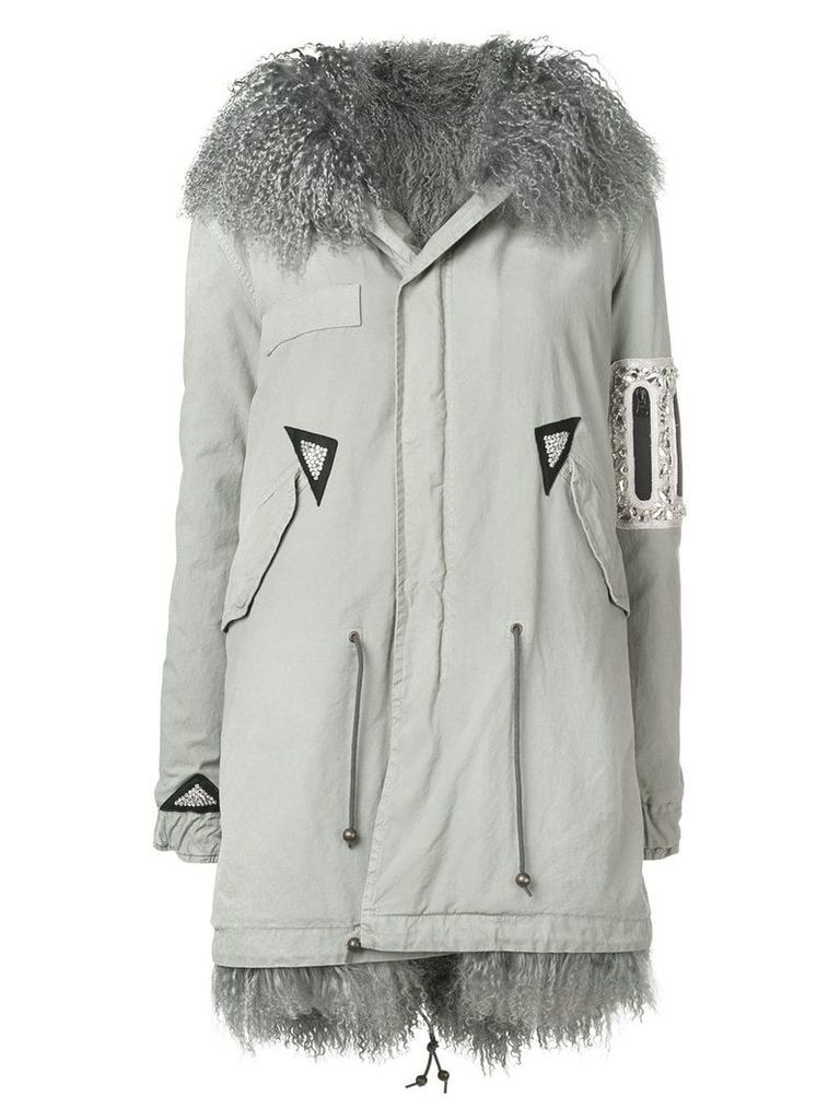 Mr & Mrs Italy trimmed hooded parka - Grey