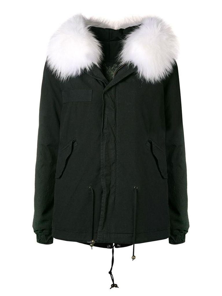 Mr & Mrs Italy trimmed hooded parka - Black