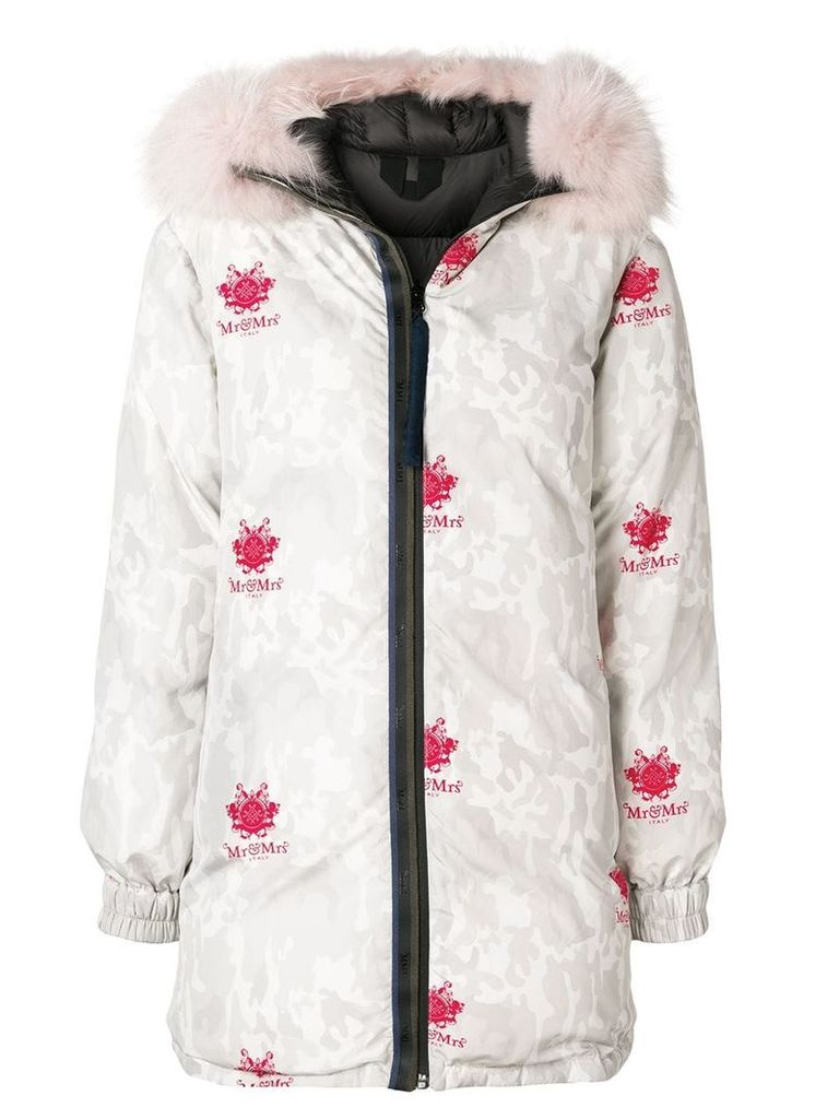 Mr & Mrs Italy camouflage print puffer coat - Neutrals