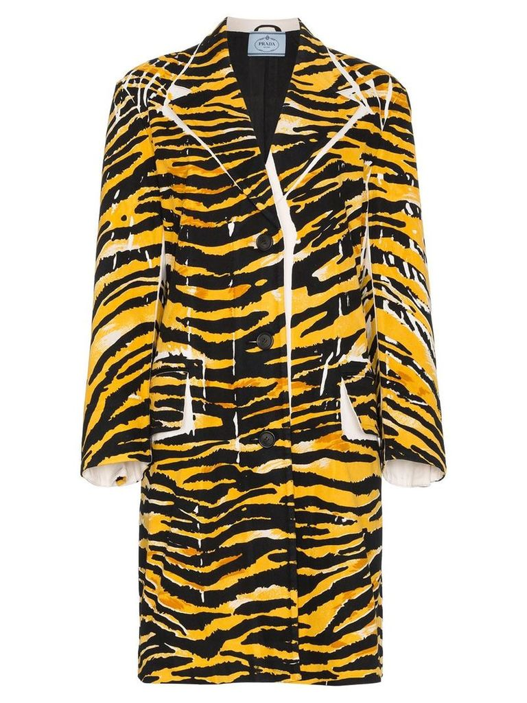 Prada Single Breasted Tiger Print Coat - Yellow
