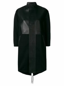 Neil Barrett leather panelled single breasted coat - Black