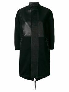 Neil Barrett leather panelled single breasted coat - Black