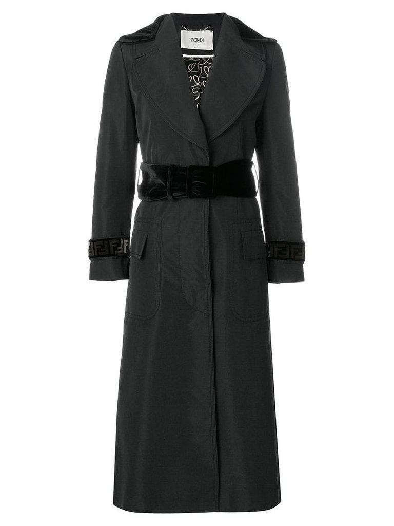 Fendi belted waist coat with FF logo panels - Black