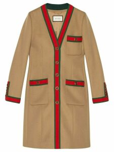 Gucci Wool coat with Web - NEUTRALS