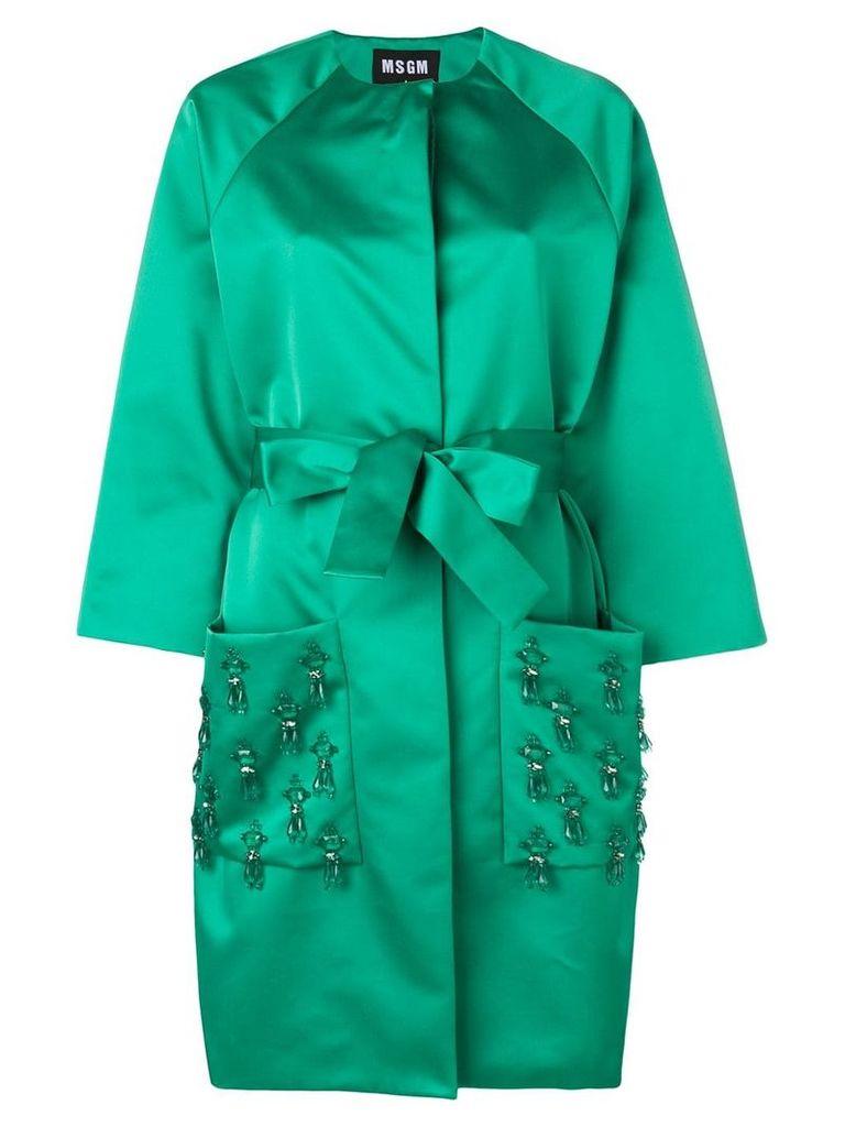 MSGM crystal-embellished belted coat - Green