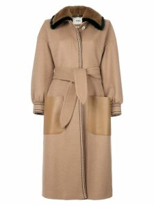 Fendi belted coat - Brown