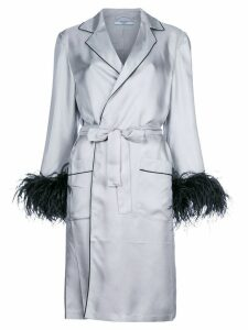 Prada embellished cuff robe coat - Grey