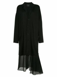 Y's pleated hem coat - Black