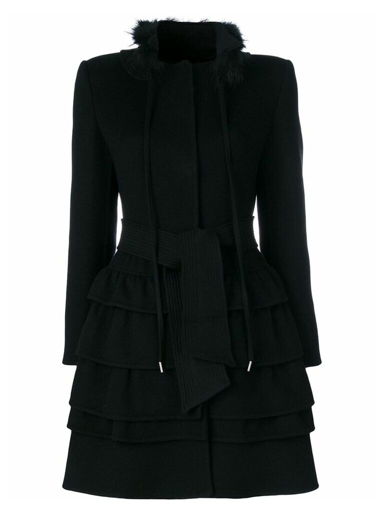 Ermanno Scervino frilled belted coat - Black