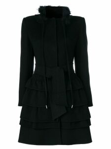 Ermanno Scervino frilled belted coat - Black