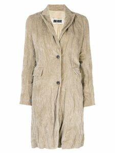 Uma Wang single breasted ruched coat - Neutrals