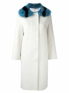 Liska fur collar single breasted coat - White