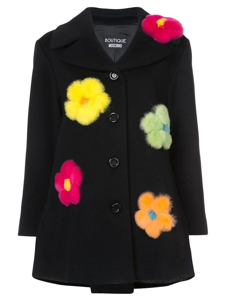 Boutique Moschino single breasted flower coat - Black