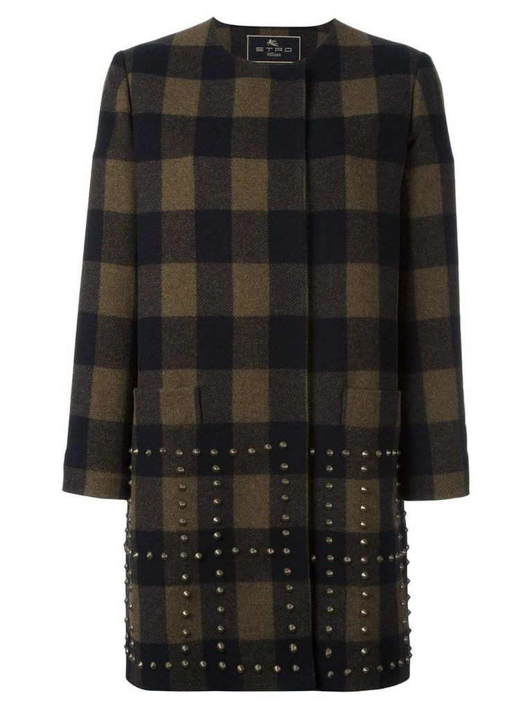 Etro studded checked coat - Black