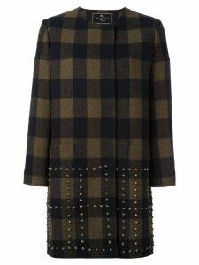 Etro studded checked coat - Black