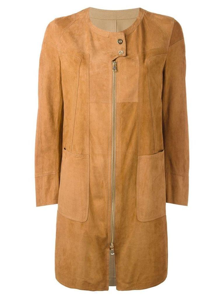 Sylvie Schimmel patchwork coat with zip and press stud fastening -