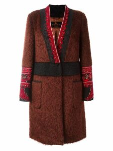 Etro embroidered detail V-neck coat - PINK