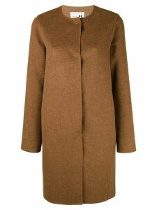 Manzoni 24 collarless midi buttoned coat - Brown