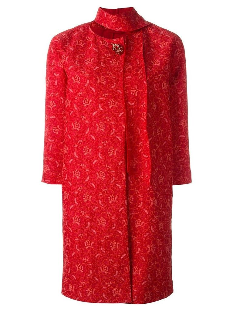 Ermanno Scervino brooch lace coat - Red