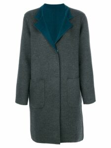 Manzoni 24 contrast lapel coat - Grey