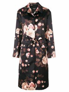 Rochas floral belted midi coat - Black