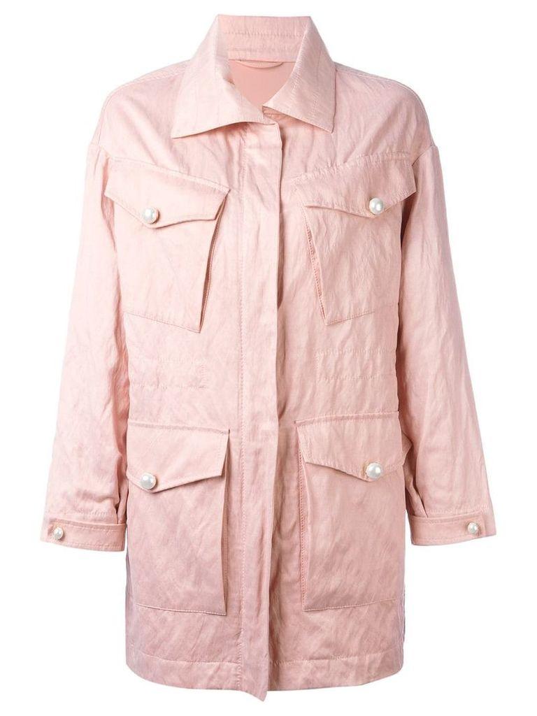 Ermanno Scervino multi-pockets zipped coat - Pink
