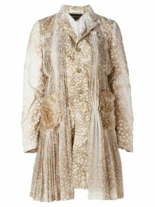 Comme Des Garçons animal print pleated detailing coat - Neutrals