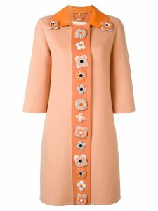 Fendi floral embellished coat - Yellow
