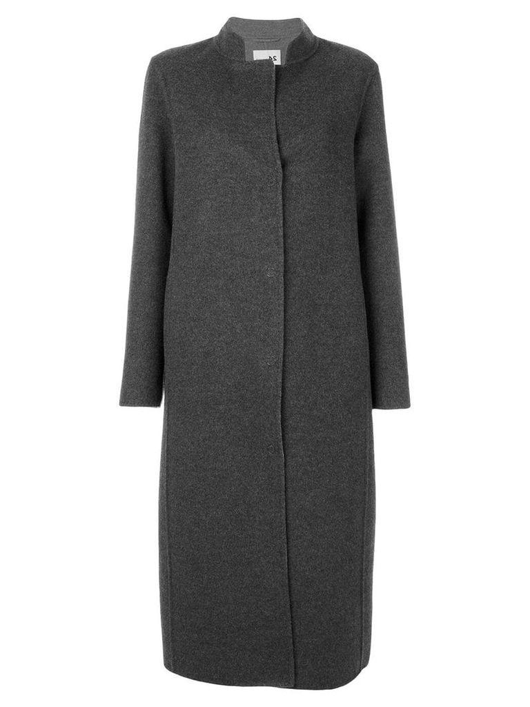 Manzoni 24 contrast lapel long coat - Grey