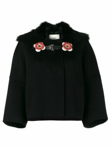 Fendi Fox collar cropped coat - Black