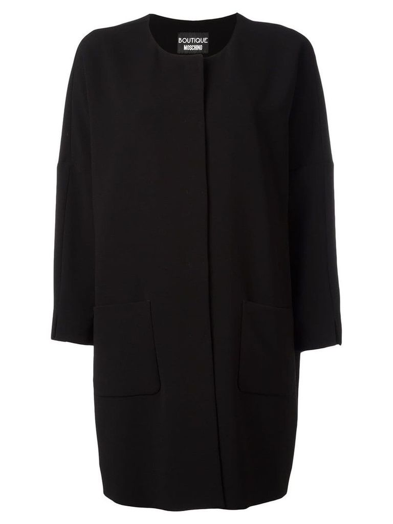 Boutique Moschino three-quarters sleeve boxy coat - Black