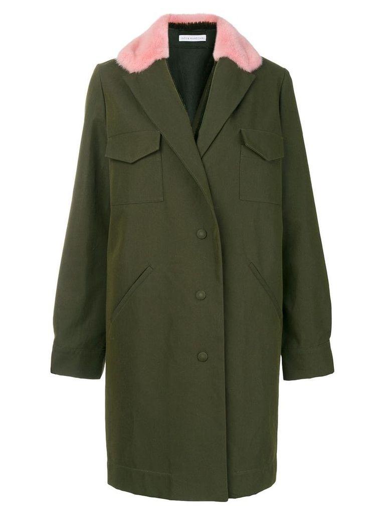 Inès & Maréchal fur collar coat - Green