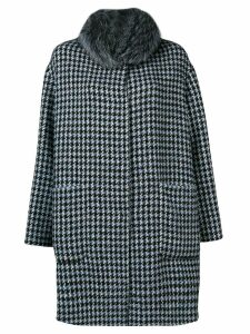 Manzoni 24 houndstooth fur collar coat - Blue