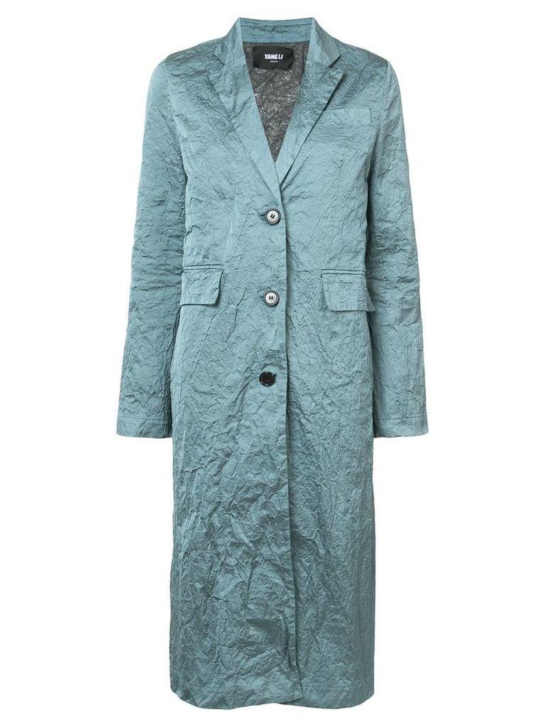 Yang Li wrinkled-effect single-breasted coat - Green