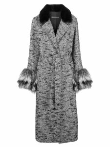 Simonetta Ravizza fur detail belted coat - Grey