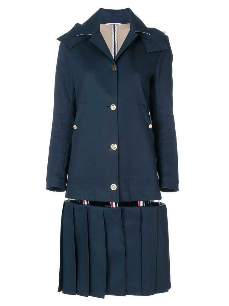 Thom Browne Low-Slung Pleated Mackintosh Overcoat - Blue