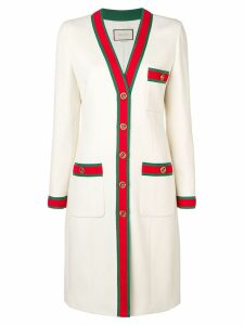 Gucci web trim coat - White