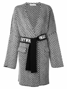 Golden Goose chevron belted wrap coat - Blue