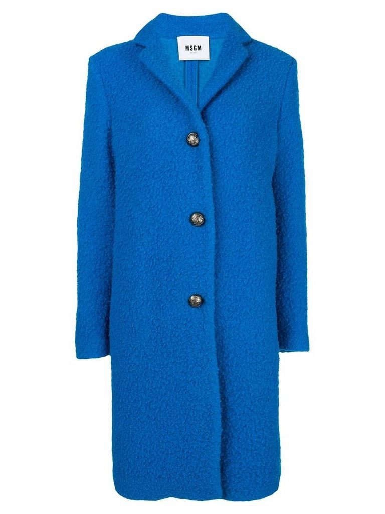 MSGM textured single breast coat - Blue