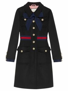 Gucci wool coat with web - Blue
