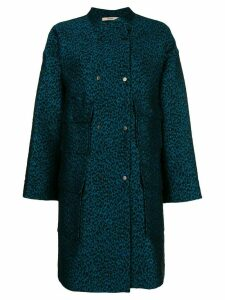 Odeeh leopard print single-breasted coat - Blue