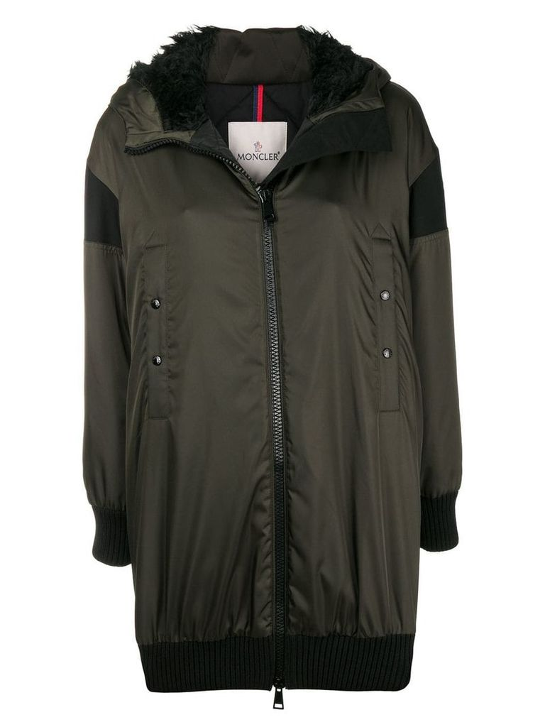 Moncler front zipped coat - Green
