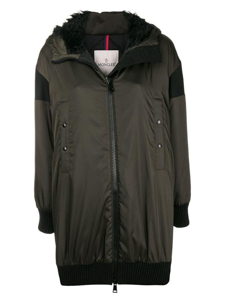 Moncler front zipped coat - Green