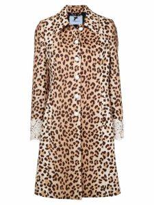 Blumarine leopard print lace trim coat - Neutrals