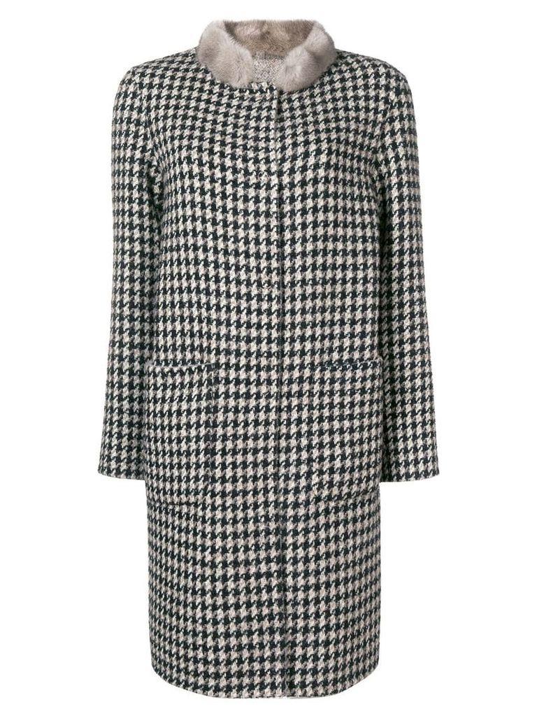Manzoni 24 fur-collar embroidered coat - Black