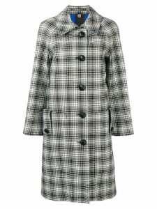 Burberry Check Wool Tailored Coat - White