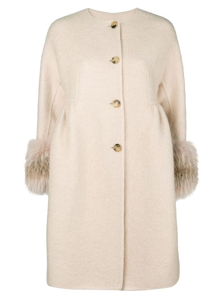 Ermanno Scervino cuffed cropped sleeve coat - Neutrals