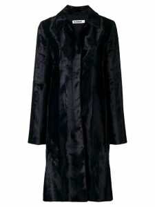 Jil Sander faux fur mid length coat - Blue